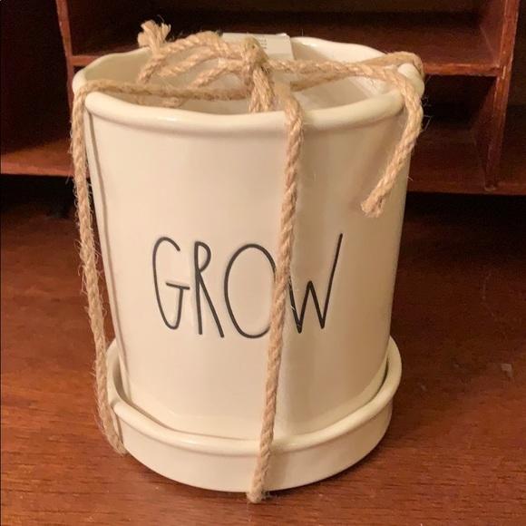 Rae Dunn GROW Plant Pot With Drip Tray